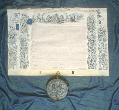 A photograph of the College's Royal Charter