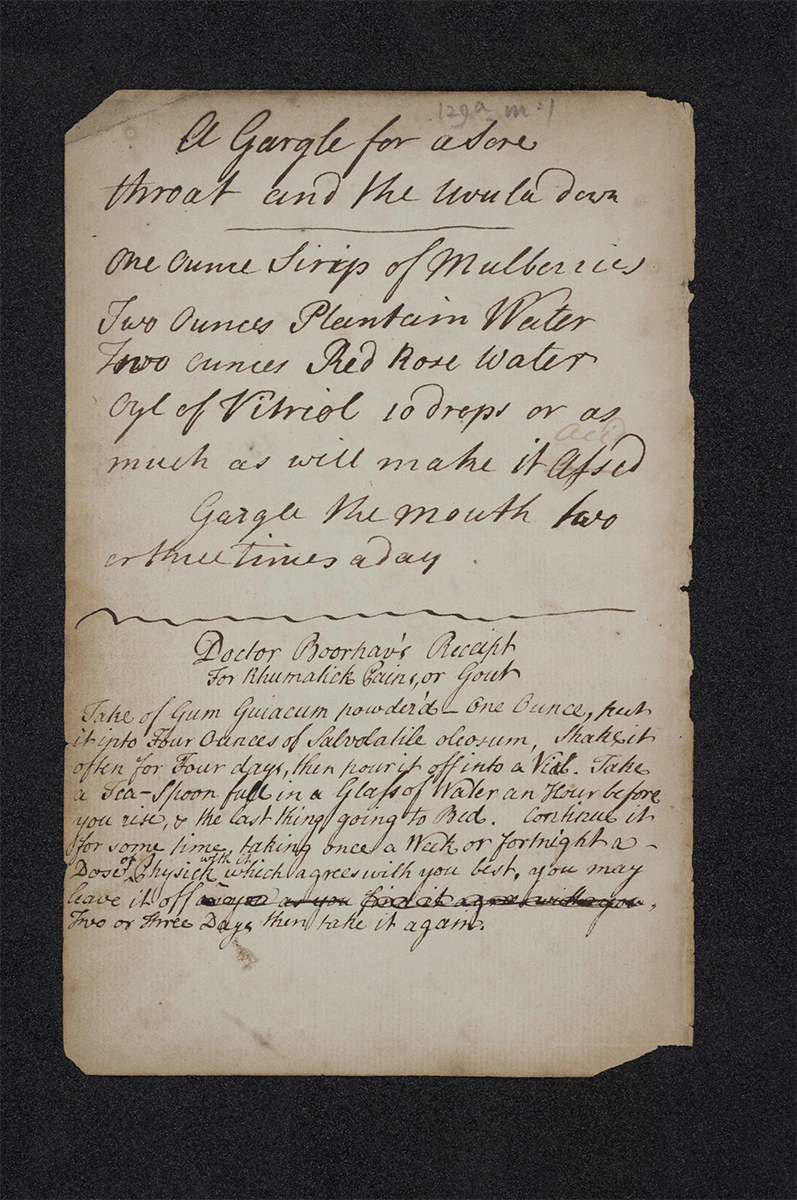 Page from 18th century recipe book