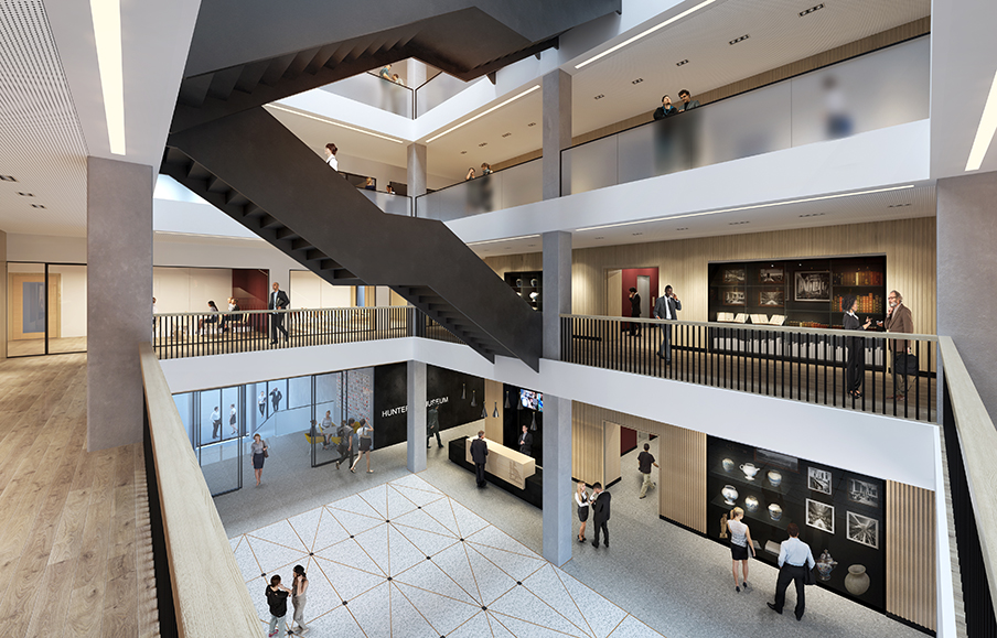 Artists impression of the new central atrium at the redeveloped Royal College of Surgeons
