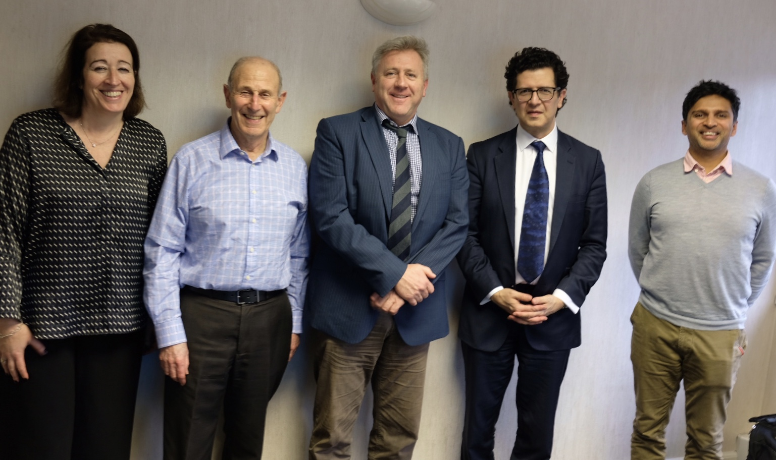 The Rosetrees Trust and the University of Oxford are long-standing supporters of research at the RCS. From left to right: Ann Berger from Rosetrees Trust, Richard Ross from Rosetrees Trust, Professor David Beard, Professor Michael Douek and Vineeth Rajkumar from Rosetrees Trust