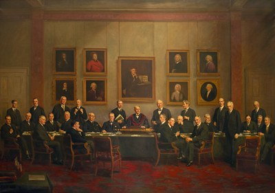 The Royal College of Surgeons of England Council 1926-1927; oil on canvas by Moussa Ayoub, 1929