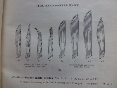 Surgical instrument catalogue - Bard-Parker knife blades