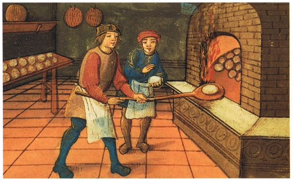 A medieval baker with his apprentice