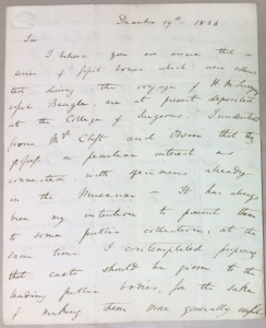Down House: Darwin letter 1, 1st page