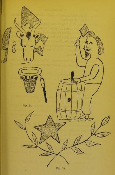 Butcher's and barrel maker's tattoos, recorded by Alexandre Lacassagne, 1881