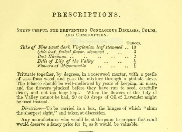 "Tobacco 3: A recipe for preventing contagious diseases, colds and consumption featured in ""Snuff-taking..."""