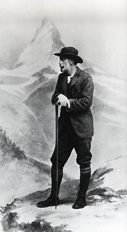 000620 - C.T.D., 1850-1912, in front of backdrop of Matterhorn, AC President
