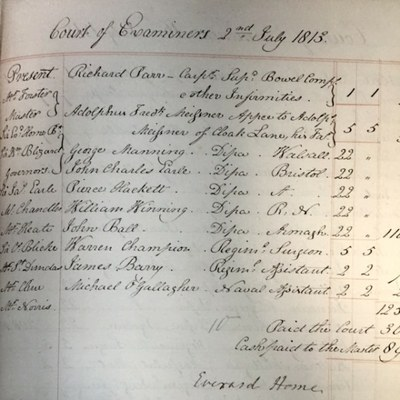 Court of Examiners, 2nd July 1813: including James Barry