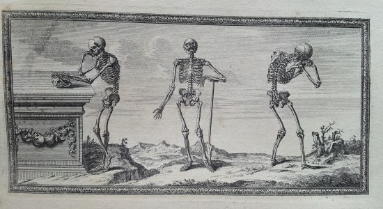 An illustration from Osteographia, depicting three human skeletons displaying a range of emotions