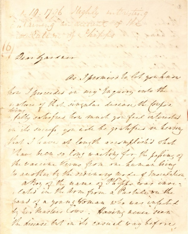 SurgiCat: MS0016/2: volume of letters from Edward Jenner to various correspondents