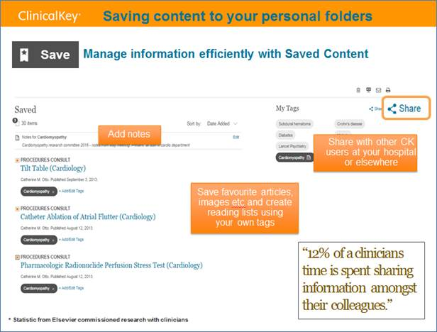 ClinicalKey: Saving content to your personal folders