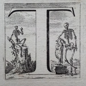An illustration from Osteographia, depicting a two skeletons posing beside the letter 'T'